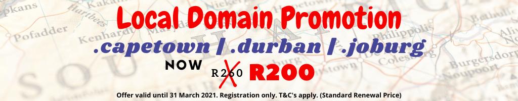 cheap .capetown | .durban | .joburg domain